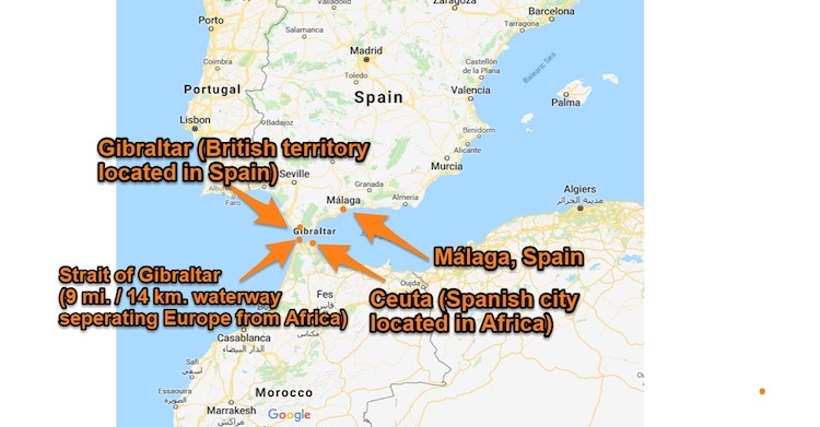 Roteiro mapa Ceuta Gibraltar Malaga Espanha