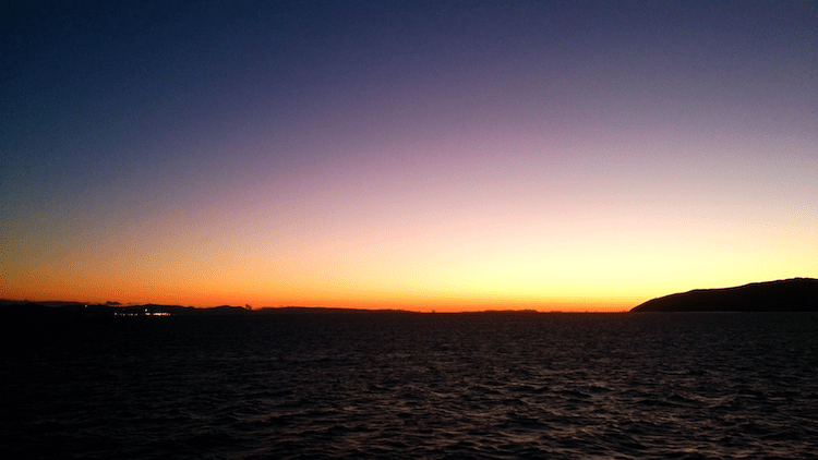Strait of Gibraltar sunset ferry Europe and Africa view