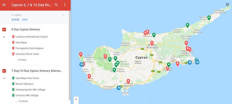 cyprus itinerary what to do map