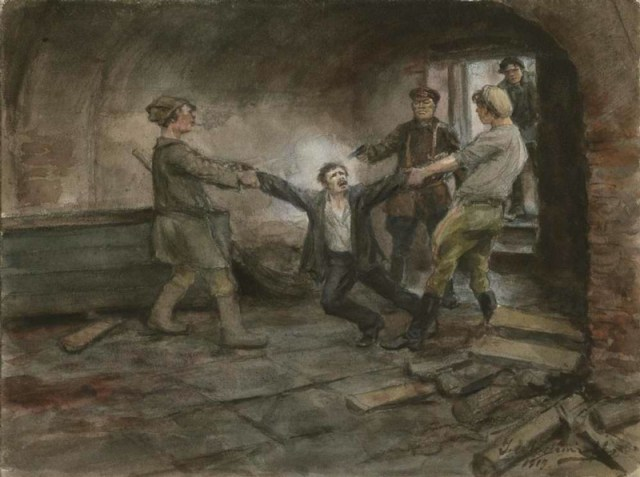 Chekistas bolcheviques asesinando a un detenido, en una obra del pintor lituano Ivan Vladimirov (1869-1947).