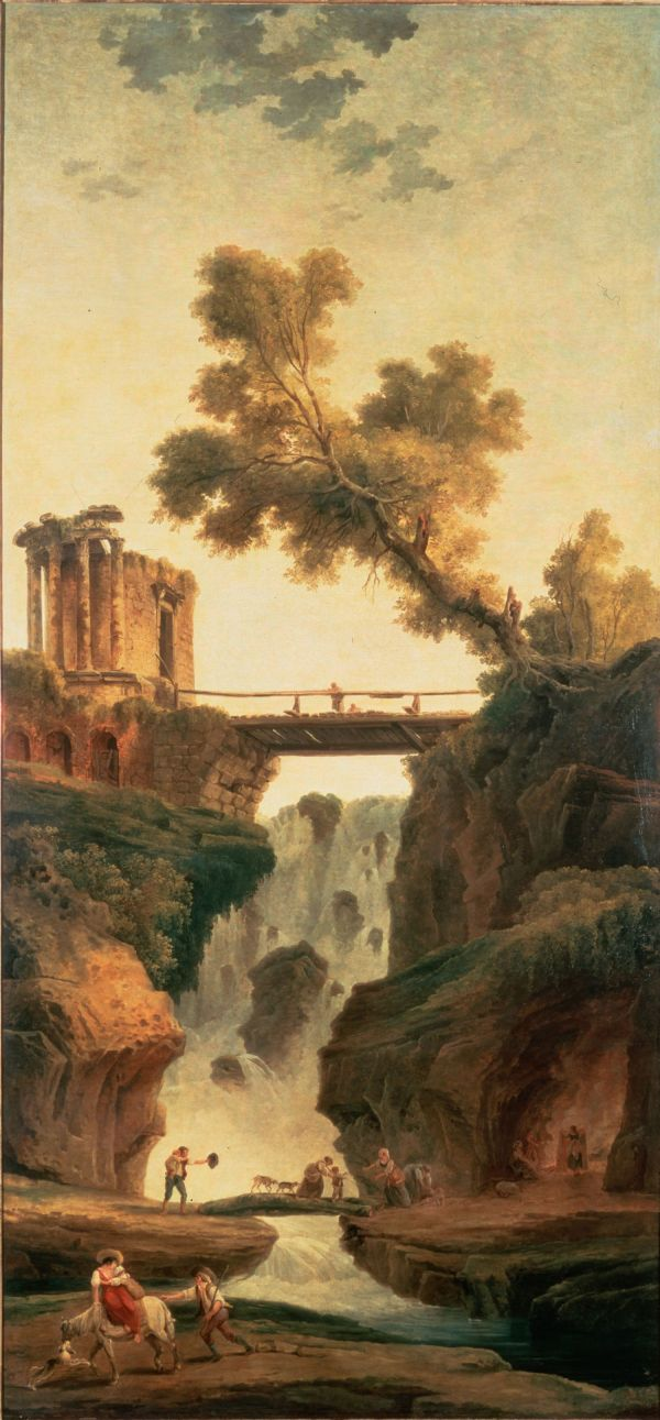 Hubert Robert Landscape With Waterfall Oil Painting