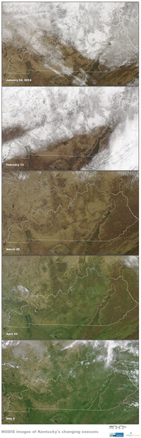 Winter to Spring in Satellite Images, 2014