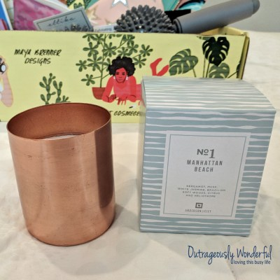 The final select option is an Anderson Lilley sunset collection candle in manhattan beach, fresh linen or super bloom. As a scent-sensitive person, I was a bit worried about this one. I read the scent descriptions closely and thought manhattan beach was the best choice for me. When the FabFitFun box arrived, I expected the entire thing to smell like the candle, but I was pleasantly surprised - I couldn't smell anything until I opened the box the candle came in. The copper vessel is beautiful and the coconut was blend candle was light, clean and absolutely delicious. I'm excited to light this candle and have my whole house smell like the beach. Retail value: $45.