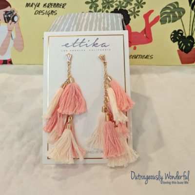 For the jewelry category, I chose between Maya Brenner Designs LOVE bracelet and Ettika day dreamer tassel earrings in black or peach. While the LOVE bracelet was beautiful, the layered tassel earrings were my choice. I have been looking for tassel earrings for a while and these are beautiful. Since I have black loop tassel earrings, I chose the peach ones. These statement earrings are perfect to pair with a business suit or jeans and a t-shirt. In fact, I've already done both! Retail value: $58.