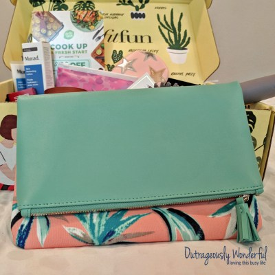FabFitFun included the perfect clutch in this season's box. The Rachel Pally reversible clutch comes in three options: bloom, zahara and paradise. I was immediately drawn to the coral, navy and aqua of the paradise clutch - this is my favorite color combination and I knew this clutch would work well with my wardrobe. The reversible bag comes with a canvas pattern on one side and a solid color buttery vegan leather on the other. There is a pocket inside the clutch and the zipper has a sweet tassel on the end from the same vegan leather as the solid side. I can see pairing the clutch with a simple solid navy sundress with the patterned side out or jeans and a top with the solid side out. Either way, this clutch is an outfit maker. Retail value: $60.