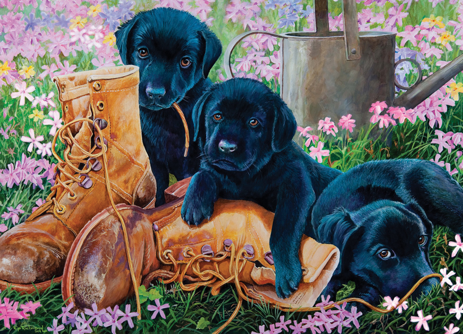 Horses In The Fall Wallpaper Black Lab Puppies Tray Puzzle Outset Media Games