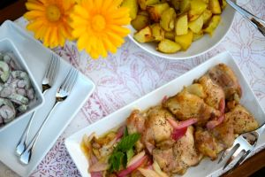 Chicken with Rhubarb, Cucumber Salad, and Potatoes