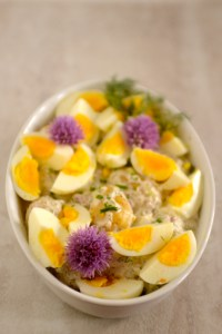 Potato and Egg Salad in Dish with Chives