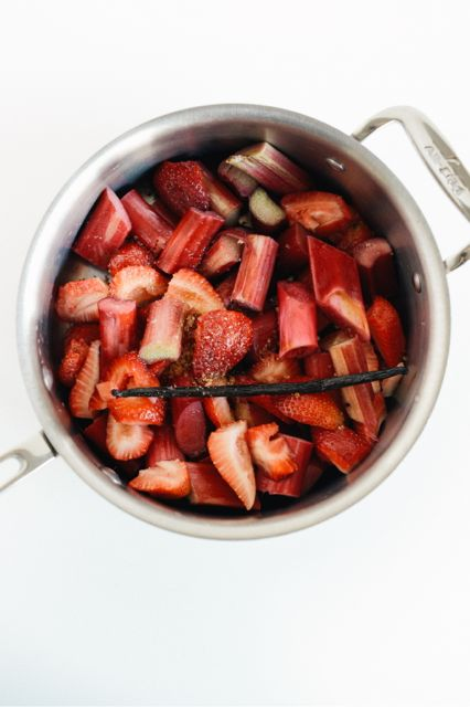 Rhubarb, Strawberries, and Vanilla in Pan