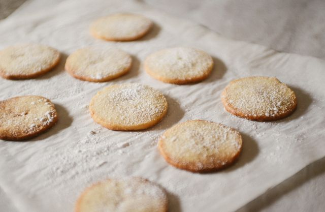 Danish Vanilla Cookies on Parchment