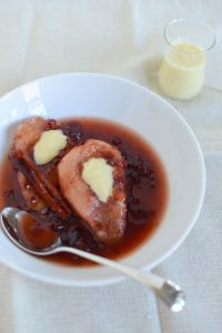 Lingonberry Poached Pears with Cream