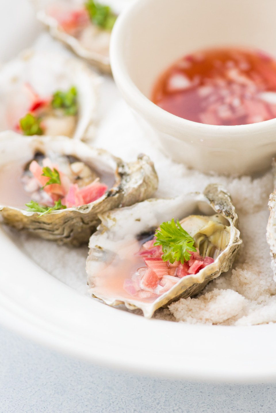 Roasted Oysters with Rhubarb Mignonette - a Nordic-Inspired Recipe from Outside Oslo, a Scandinavian Food Blog