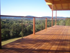 Hardwood deck with stainless steel wire balustrading in North Brisbane