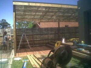 During construction: Bamboo screening installed over clear polycarbonate