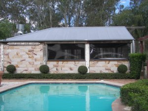 Pinz blinds in pool house by Outside Concepts Sutherland