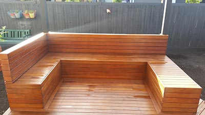 This pair of Melbourne pergolas and timber seat were built by Outside Concepts Western Victoria branch