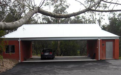 A carport, storage unit and fire shelter in one