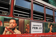 Film poster on bus