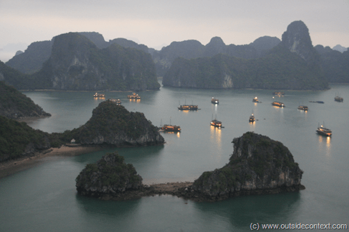 Night falls in Halong Bay