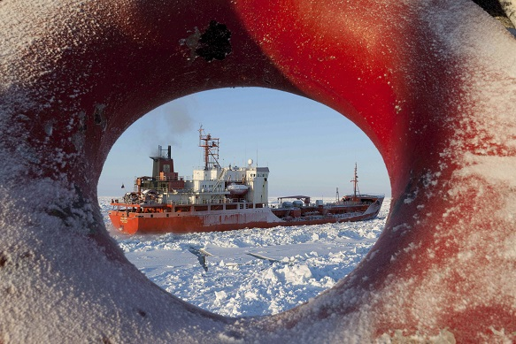 Handout photo of Russian-flagged tanker Renda transiting through the Bering Sea with U.S. Coast Guard Cutter Healy's assistance on its way to Nome
