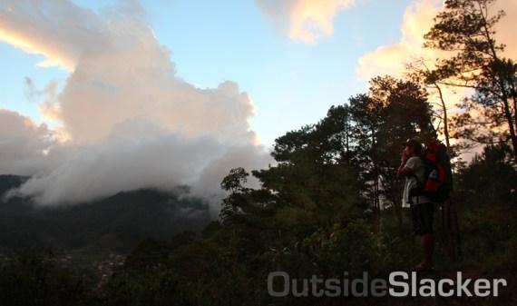 Enjoying the sunset after the climb