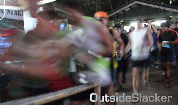 Nature's Trail Discovery Run participants rush out the starting line