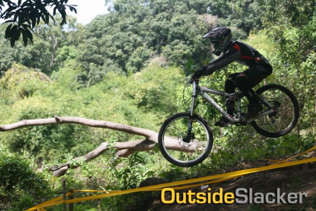 Downhill racer jumps again