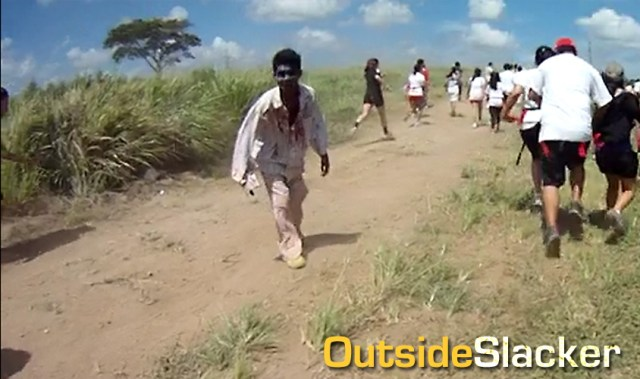 A zombie goes after runners at Outbreak Manila Nuvali