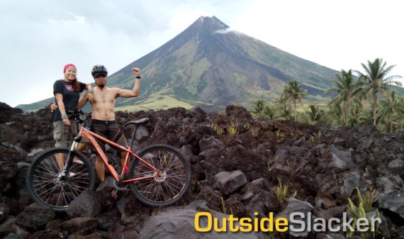 Bikers on Mayon's Lava wall