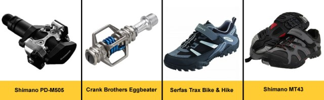 Mountain bike clipless pedals and shoes