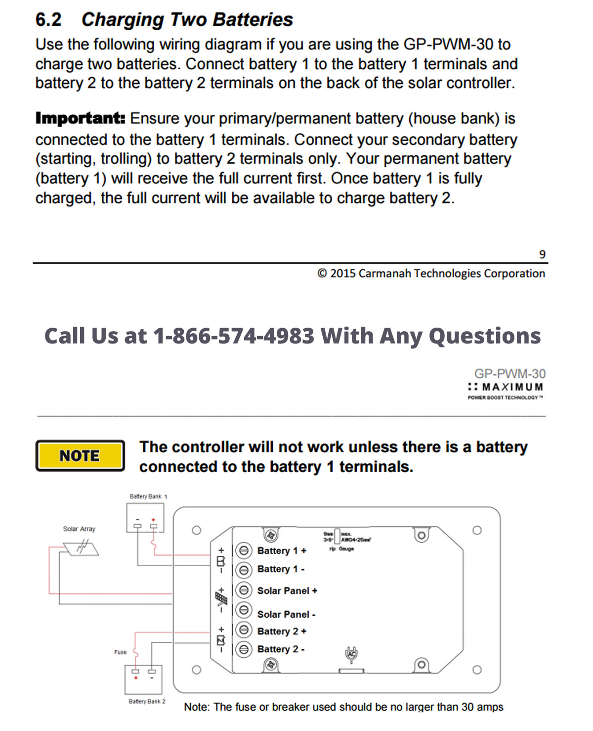 hight resolution of instructions for charge controller from go power for dual battery bank operation
