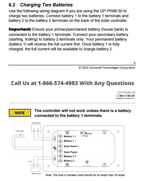 small resolution of instructions for charge controller from go power for dual battery bank operation