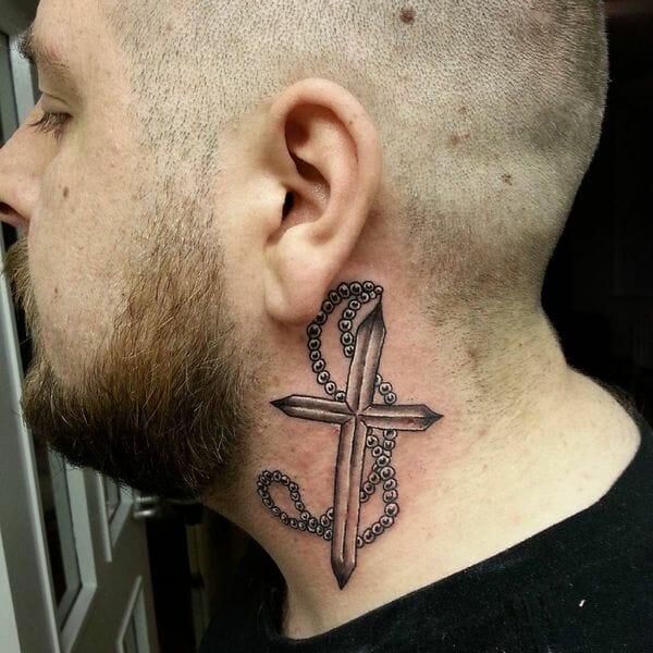 Cool Cross Neck Tattoo