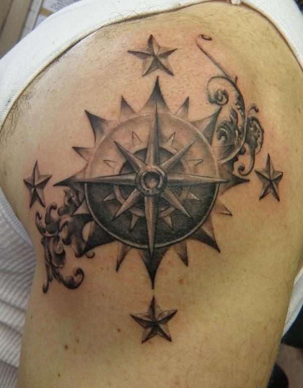 compass and stars tattoo