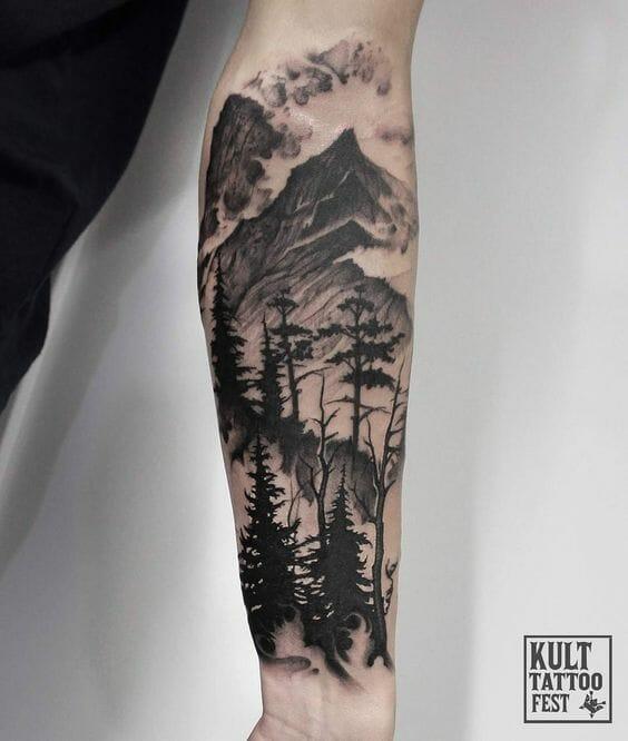 Tree & Mountains Arm Tattoo