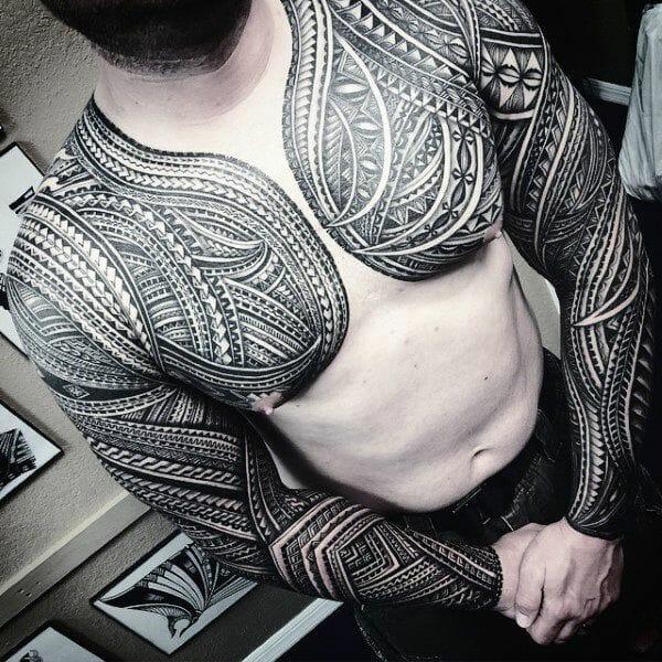 Traditional Samoan Tribal Chest & Arm Sleeve Tattoo