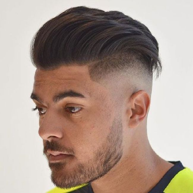 Man with Taper Fade Pompadour and beard