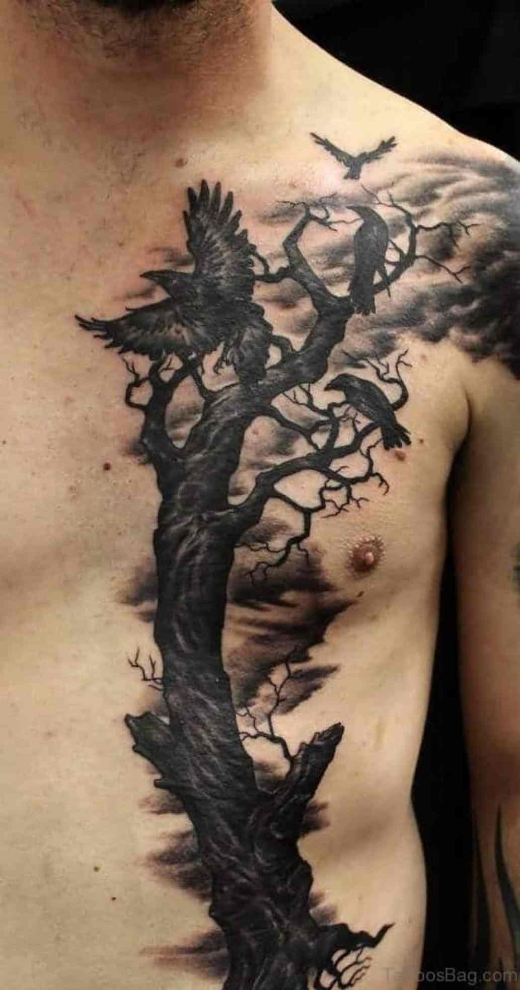 Amazing Dry Tree And Raven Chest Tattoo