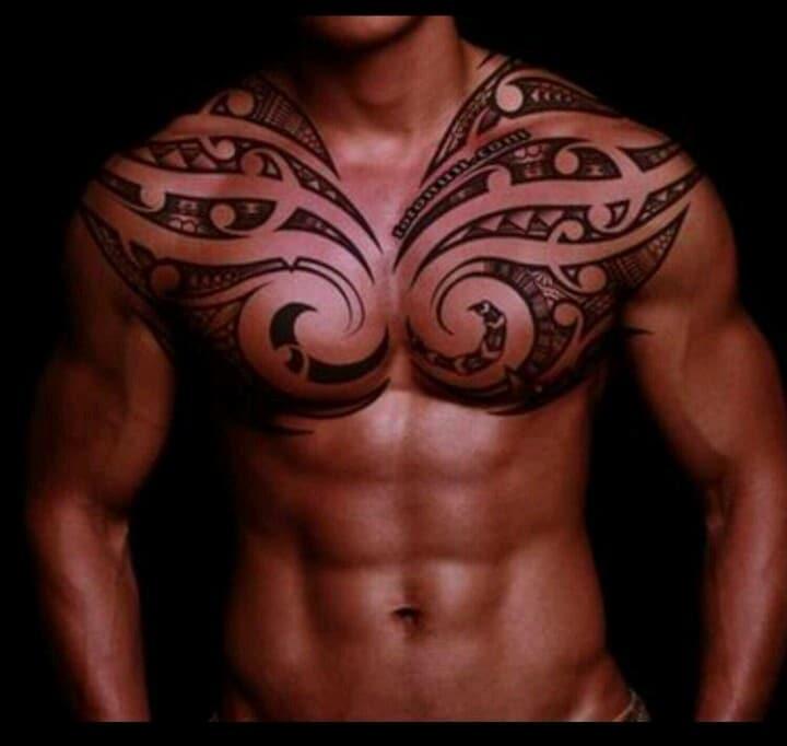 Amazing Polynesian Tribal Chest Tattoo
