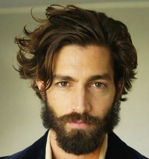 Classic Messy Long Hair With Thick Beard