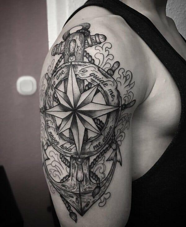 compass & anchor tattoo