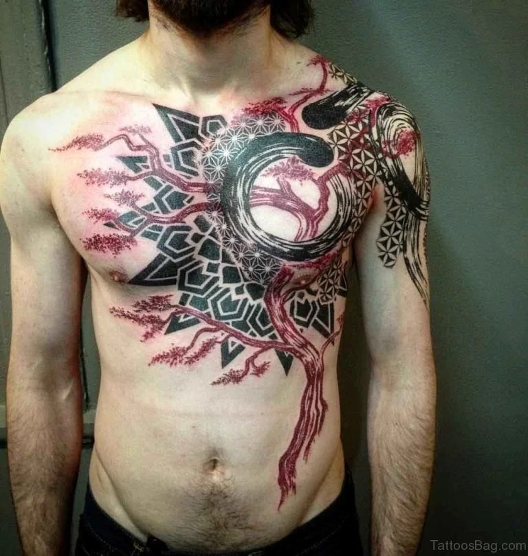 Abstract Deer Hear & Tree Tattoo