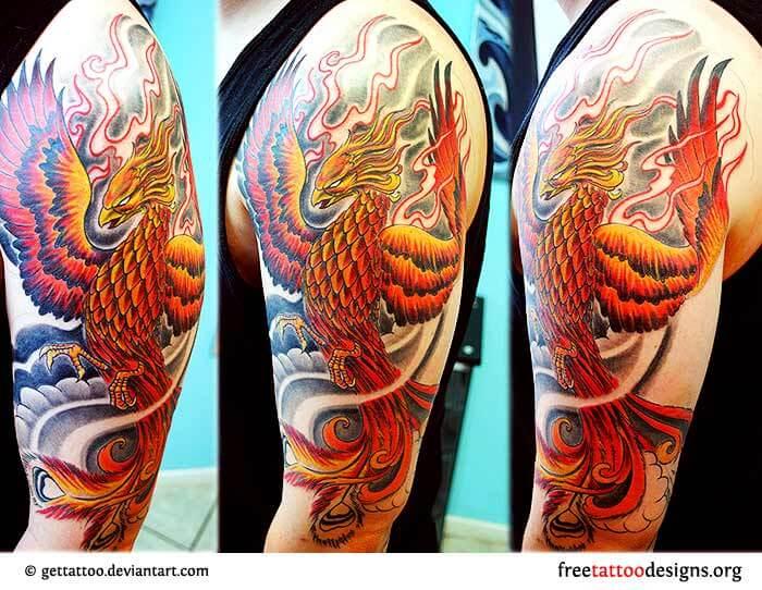 Flaming Japanese Phoenix Tattoo