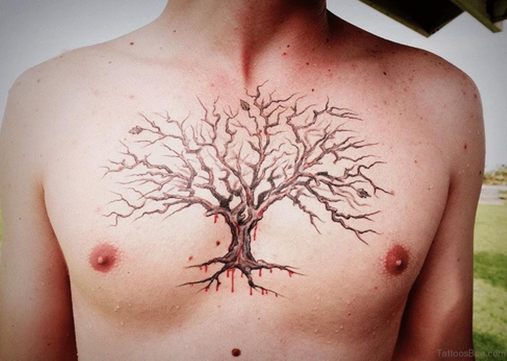 Good Looking Tree Chest Tattoo