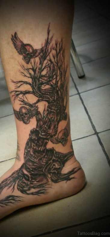 Skull & Tree Leg Tattoo