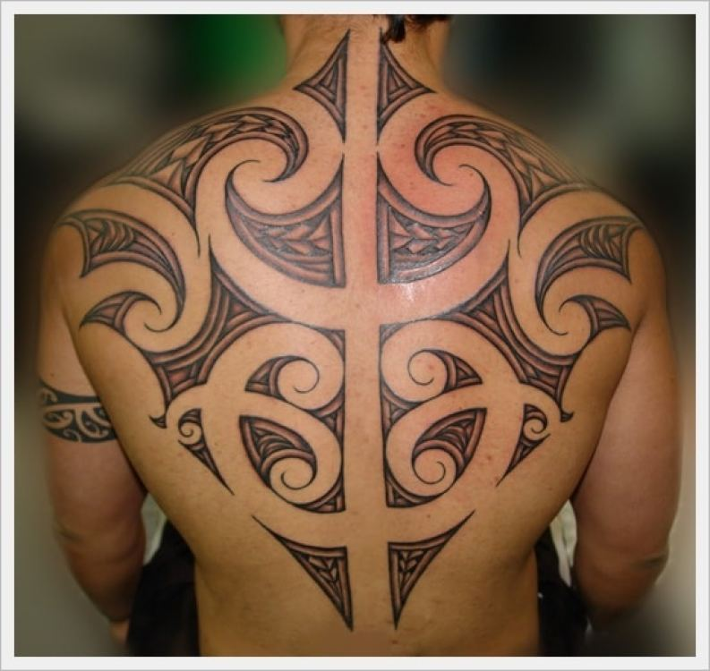 Tribal Back Tattoo with Spacing