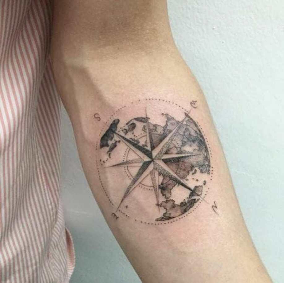 Cool Compass Arm Tattoo