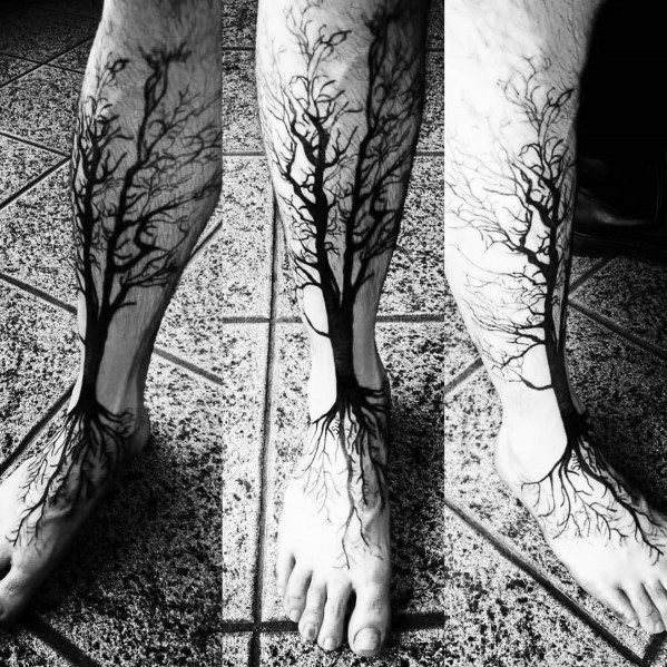 Cool Tree Leg Tattoo Design