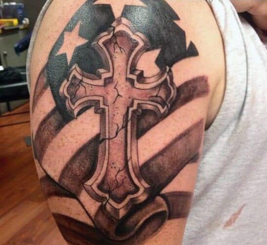 Flag & Cross Tattoo