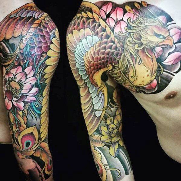 Asian Full Sleeve Phoenix Tattoo